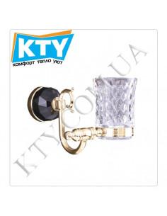 Стакан для зубных щеток Kugu Diamond 1106G (навесной, стекло, золото)
