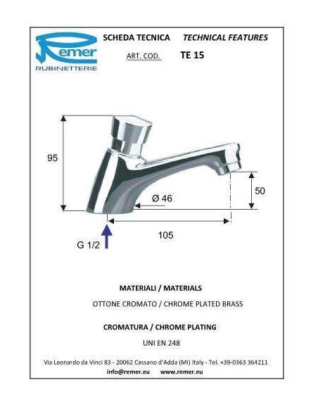 Кран дозатор для умывальника Remer Tempor TE15 (1/2)