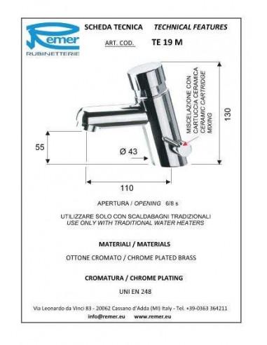 Кран дозатор для умывальника Remer Tempor TE19 (1/2)