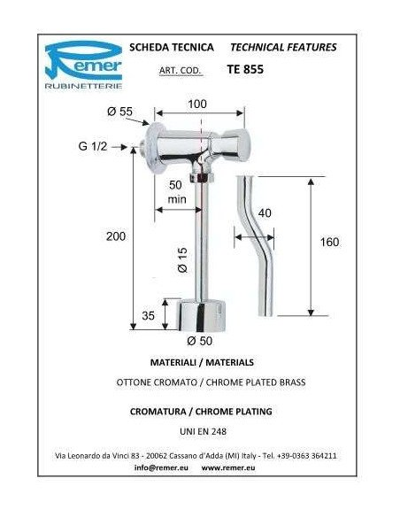 Кран дозатор для писсуара Remer Tempor TE855 (1/2)