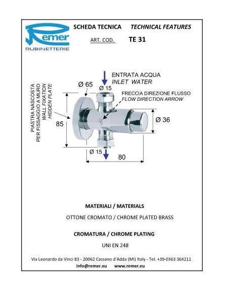Кран дозатор для душа Remer Tempor TE31 (1/3)
