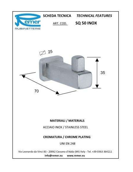 Крючок Remer SQ50 Inox (одинарный)