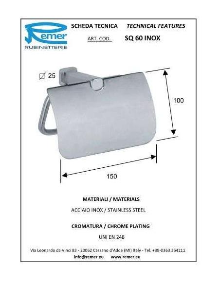 Держатель для туалетной бумаги Remer SQ60 Inox (хром)