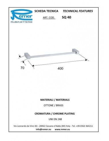 Полотенцедержатель Remer SQ40 Inox (40 см, хром)