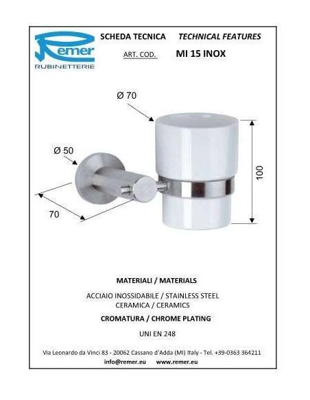 Стакан Remer Minimal MI 15 Inox (одинарный, настенный)