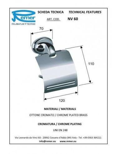Держатель для туалетной бумаги Remer 900 NV60 (с крышкой)