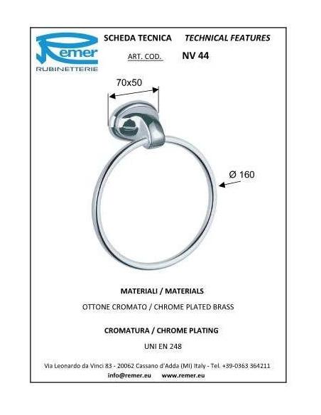 Полотенцедержатель Remer 900 NV44 (кольцо, хром)