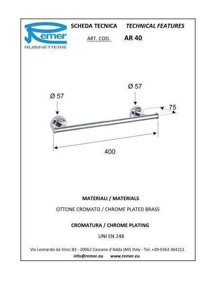 Полотенцедержатель Remer Arte AR40 (40 см, хром)