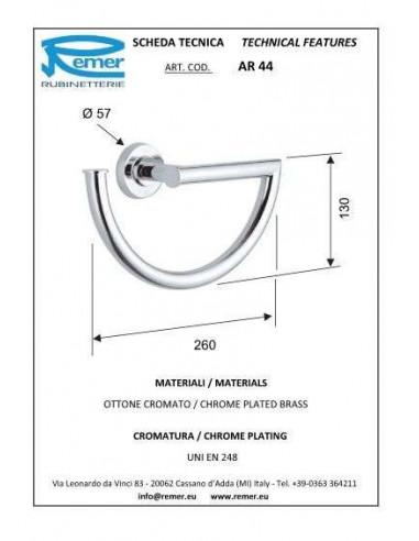 Полотенцедержатель Remer Arte AR44 (кольцо, хром)
