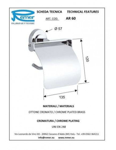 Держатель для туалетной бумаги Remer Arte AR60 (с крышкой)