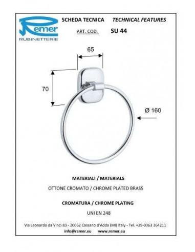 Полотенцедержатель Remer Suite SU44 (полукольцо, хром)