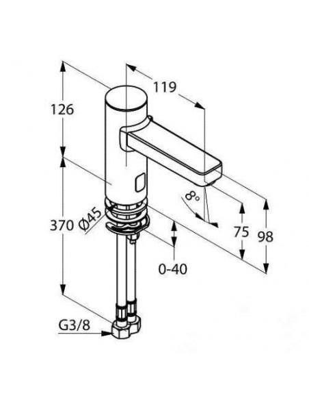 Смеситель сенсорный для умывальника Kludi Zenta 3810005 (со смешиванием, 9 V)