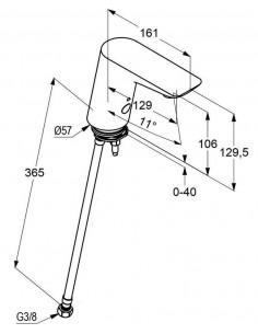 Смеситель сенсорный для умывальника Kludi Balance 5210505 (алкалиновая батарейка 6 V, вентиль на одну подводку)