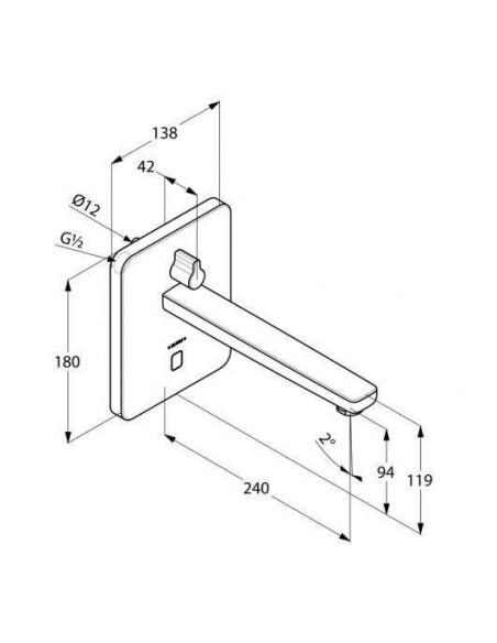 Смеситель сенсорный для умывальника Kludi Zenta 3840005 (настен. монтаж, сеть 240 V или батарейки, 240 мм, квадратный отражатель