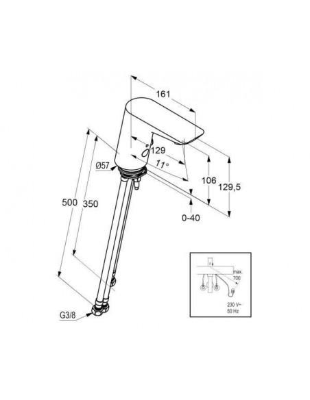 Смеситель сенсорный для умывальника Kludi Balance 5220091 (подключение к сети, белый)