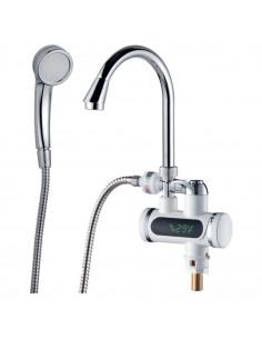 Смеситель для ванны с проточным водонагревателем Aquatica JZ-6C141W (3.0 кВт, 0,4-5бар, гусак ухо, гайка)