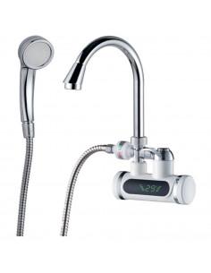 Смеситель для ванны с проточным водонагревателем Aquatica JZ-7C141W (3.0 кВт, 0,4-5бар, гусак ухо, настенный)