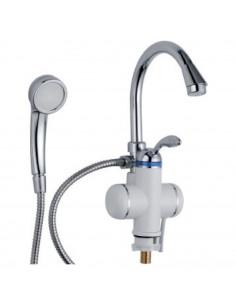Смеситель для ванны с проточным водонагревателем Aquatica LZ-6C111W (3.0 кВт, 0,4-5бар, гусак ухо, гайка)
