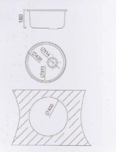 Круглая мойка Cristal Roma UA7101ZS (420x180)