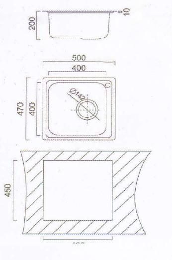 Мойка прямоугольная Cristal Katana UA6110ZS (500 x 470 x 200)